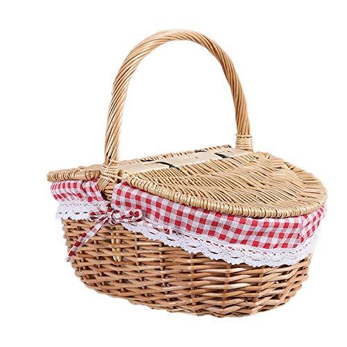 TOOGOO Picknickkorb aus Weidengeflecht, mit Deckel und Griff und Futter für Picknicks, Partys und Grills