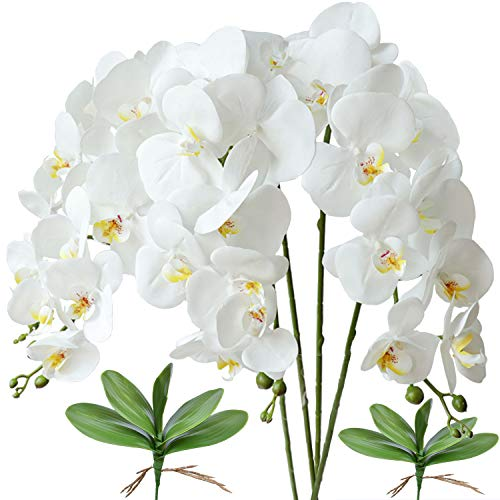 FagusHome 4 Stück künstliche Phalaenopsis Orchideen Blumen Weiß 80CM mit Künstliche Orchidee Blätter 2 Bündeln für Deko (Weiß)