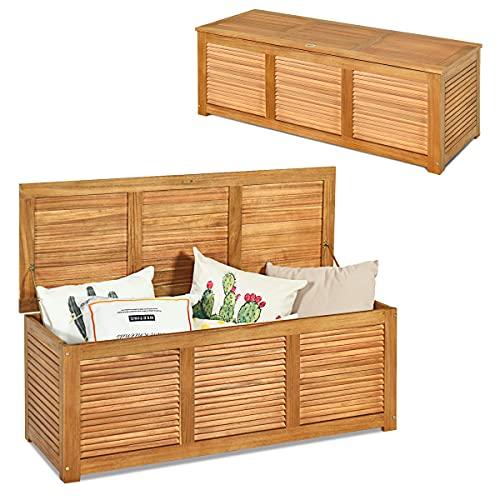 RELAX4LIFE Gartenbox aus Massivholz, Gartentruhe mit Stauraum, Auflagenbox mit Deckel & Atmungsaktivem Design, Kissenbox mit Belastbarkeit bis zu 150 kg,...