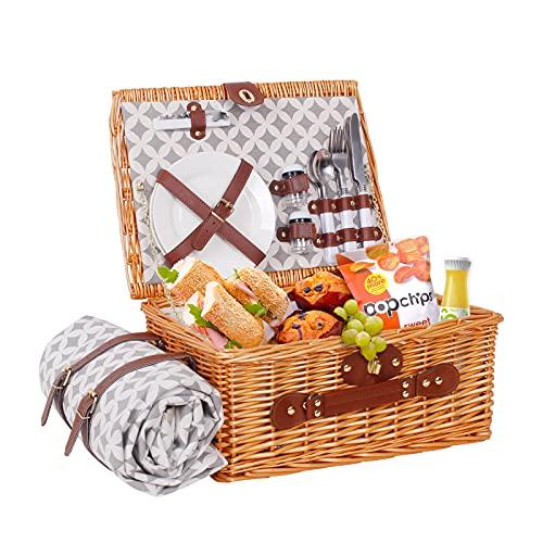 Picknickkorb für 2 Personen aus Weidengeflecht mit Isoliertasche Thermotasche Picknickdecke Inklusive Weingläser Edelstahlbesteck und Keramikteller für...