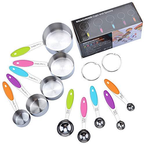 Fohil Messbecher und Löffel Edelstahl 10 Set - 5 Messbecher 5 Messlöffel 2 Runden Ringenmit Silikon Griff und Meßlineal Multifunktions für Küche Kochen...