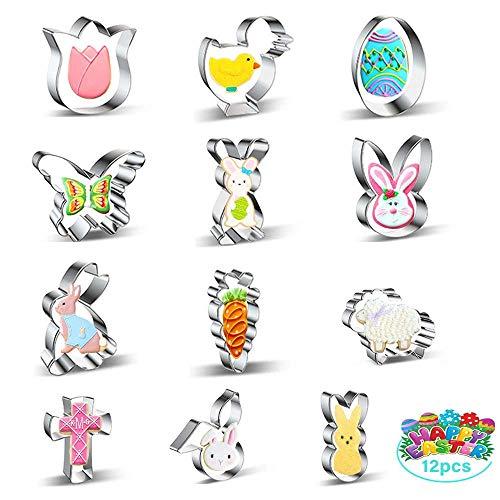 Ausstechformen Ostern set 12,THOWALL Keksausstecher Ostern GroR fur Ostern Geschenke Kinder, Ausstechformen Ostern Mini für Kekse, Kuchendekorationen,...