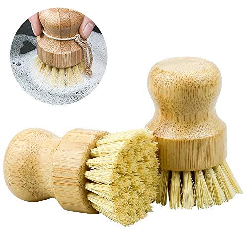 ZHENA 2 Pcs Pilzbürste Gemüsebürste Topfbürste Naturborsten, Spülbürste runde Küchenbürste aus Bambus zur Reinigung von Töpfen, Pfannen, Tellern,...