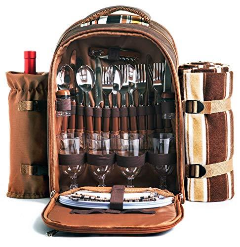 Hap Tim apollo walker Picknick-Rucksack für 4 Personen mit Kühlfach, abnehmbarem Flaschen-/Weinhalter, Fleece-Decke, Teller und Besteck-Set, perfekt für...