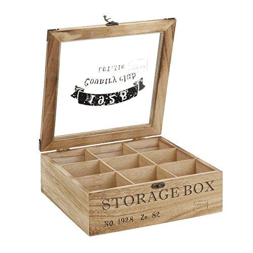 ToCi Teebox Holz Natur mit 9 Fächern   Quadratische Teekiste Teedose Teebeutel Box Aufbewahrung   24 x 24 x 8,5 cm (LxBxH)  'Storage Box' im Retro Look