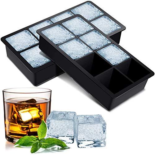 BROTOU Silikon Eiswürfelform, 2er Eiswürfel Form Eiswürfelbehälter BPA Frei 5cm Große Eiskugeln Runde Eiskugelformer Ice Tray Ice Cube für Bier Cocktails...