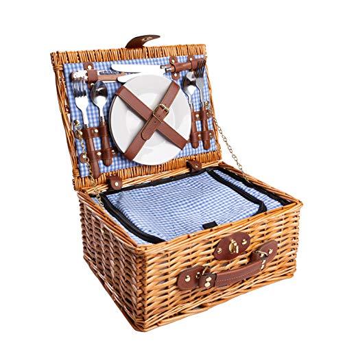 eGenuss LYP1598BLU Handgefertigtes Picknickkorb für 2 Personen – Kühlfach, Multifunktionsmesser, Edelstahlbesteck, Teller und Weingläser inklusive - Blaues...
