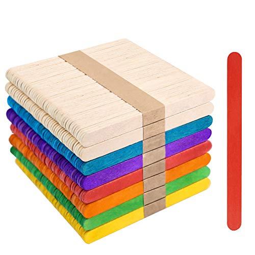 VGOODALL 400 Stück Bunte Holzstäbchen, Holzeisstiele zum Basteln Popsicle Sticks Eisstiele aus Holz Bunt Natur Kosmetik