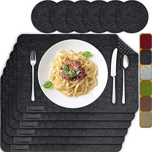 MAHEWA® 6er Set Premium Tischset Platzset aus Filz rutschfest Ab-waschbar und Waschmaschinenfest Eckige Platzdeckchen Teller-Untersetzer Filzset Tisch-Matten...