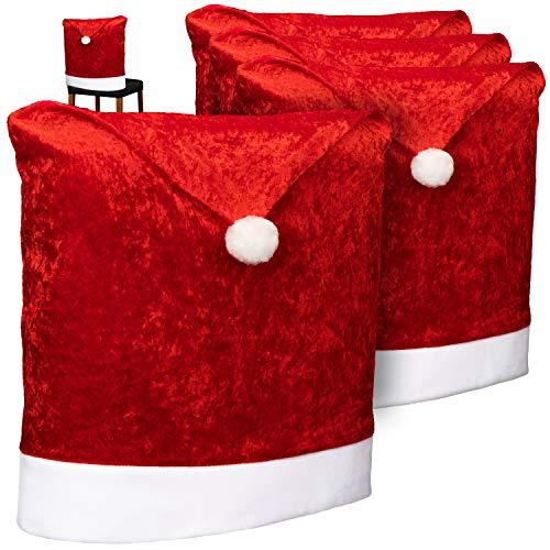 com-four® 4X Premium Stuhlhussen für Weihnachten - Weihnachtsdeko für Stühle - Stuhlabdeckung im weihnachtlichen Design - Stuhlbezug