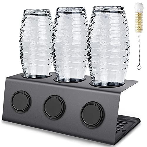 LITSPOT Edelstahl Flaschenhalter Premium Abtropfhalter für SodaStream und Emil Flaschen, mit Abtropfmatte und Flaschenbürste, Spülmaschinenfest, Schwarz