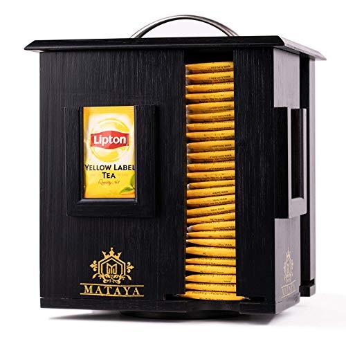 MATAYA Teebox Aus Bambus Holz - Rotierende Teebeutel Aufbewahrungsbox Mit 4 Fächer - Tee Aufbewahrung Für ca. 200 Teebeutel - Schwarz - Groß - 24 x 17,5 x 20...