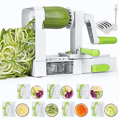 Spiralschneider Gemüseschneider Spiralschneider mit 7 Klingen Faltbare Gemüse Spaghetti Gemüsenudeln Spiralschneider Für Gurke Kartoffel Zucchini Noodle...