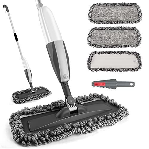 Homgif Sprühwischer 380ML Wischmopp mit Sprühfunktion, 120CM Spray Mop Bodenwischer mit Sprühfunktion, Home Küche Wischer Bodenreinigung mit 3 Waschbaren...