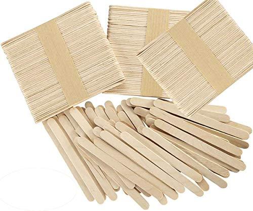 Okaytec Kit 300 Stück Eisstiele aus Holz Holzstäbchen Holzspatel Bastelholz, Holzstäbchen zum Basteln Holzstab Holzstiele Holzstäbe für EIS am Stiele,...