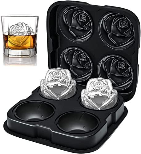 ROTTAY Eiswürfelform Rose, XXL 63mm 4-Fach Eiswürfel im Rosendesign, Leicht Herausnehmbar Silikon Eiswürfelbehälter mit Deckel für Whiskey, Cocktails, Gin,...