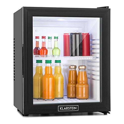 Klarstein MKS-13 Mini Kühlschrank - höhenverstellbarer kleiner Kühlschrank, Minikühlschrank mit Glastür, leiser Betrieb, 1 Regaleinschub, 30 Liter, schwarz