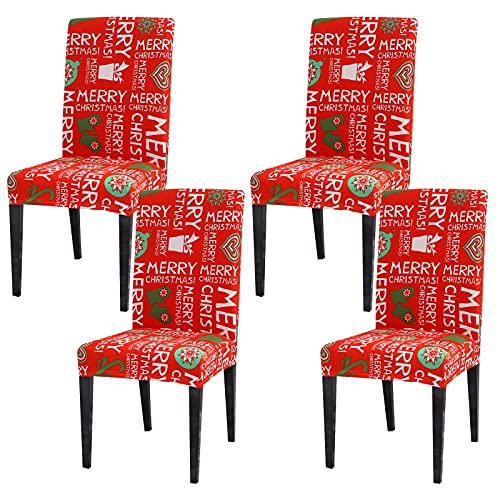 Padgene Universal Stretch Weihnachten Stuhlhussen, Abnehmbare Stuhlbezug Sitz Stuhl Esszimmer überzug Stuhlüberzu Abdeckungen Hussen für Husse Hotel Party...