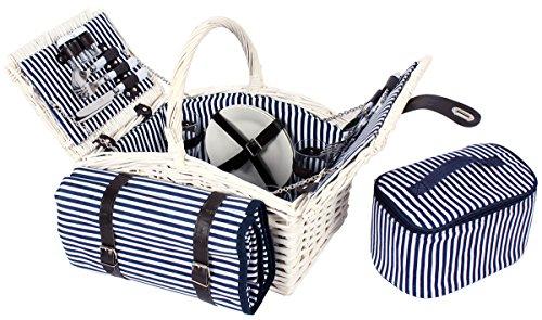 4 Personen Weiden Picknickkorb Picknickkoffer Set Decke, Besteck (Weiß)