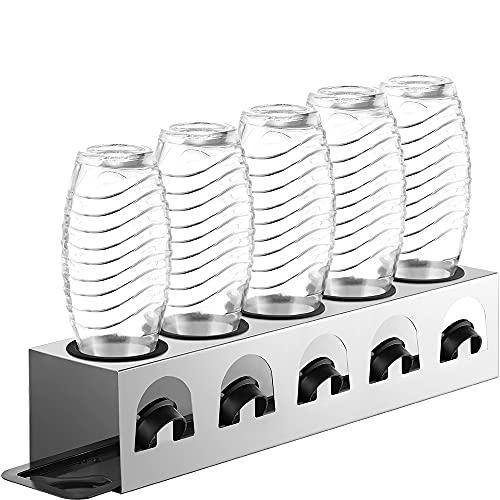 ecooe Abtropfständer mit Abtropfwanne und Kantenschutzringe Flaschenhalter für SodaStream Crystal Glaskaraffe Fuse PET-Flasche Abtropfhalter für 5 Flaschen...