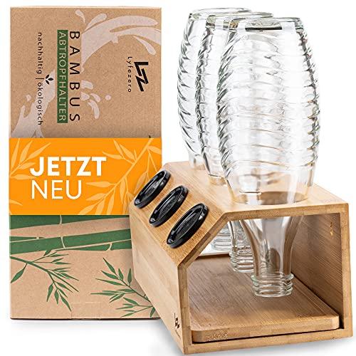 Lyfezero SodaStream Flaschenhalter 3er aus Bambus - Abtropfhalter für Soda Stream - Flaschenständer mit Abtropfwanne - Pflegeleichtes Abtropfgestell -...