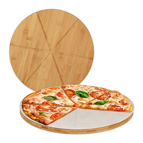 Relaxdays Pizzabrett Bambus 2er Set, runde Pizzateller 33 cm Ø, inkl. Backpapier, Pizza Schneidebrett mit Rillen, Natur