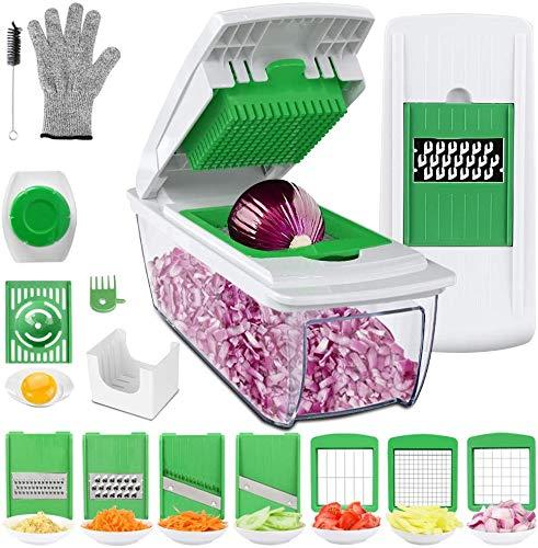 Uvistare Gemüseschneider Obstschneider kartoffelschneider, Mutischneider Gemüsehobel mit Messereinsätzen Handschuh zum...
