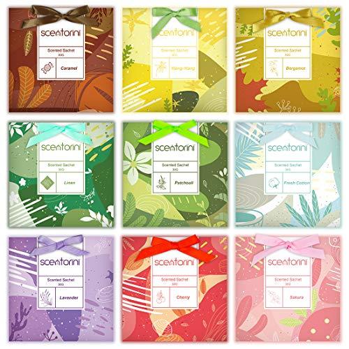 SCENTORINI Duftsachets für Schubladen, Schränke, 9 x 30g, Duft von Kirsche, frische Baumwolle, Patschuli, Karamell, Sakura, Bergamotte, Lavendel, Leinen,...