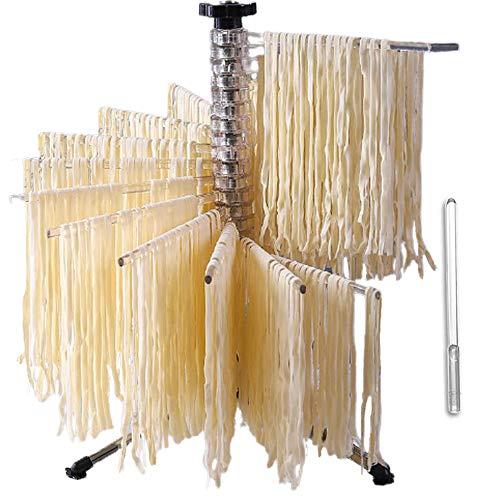 Bugucat Nudeltrockner 16 Pole, Pastatrockner Nudelstände mit 16 Ausziehbare Sprossen für bis zu 2kg Nudeln Tassen Handtücher, Integrierter...