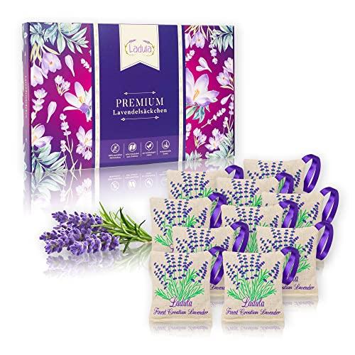 LADULA 10x Lavendelsäckchen mit Lavendelblüten – natürlicher Mottenschutz gegen Motten – Duftsäckchen für Kleiderschrank – Langanhaltender Lavendel...