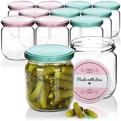 com-four® 12x Einmachgläser mit Schraub-Deckel'Made with love' in grün und rosa - TO Ø 82 mm - bis zu ca. 425 ml
