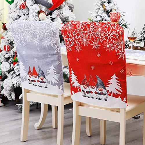 OldPAPA Weihnachten Stuhlhusse, 4 Stücke Weihnachtsstuhl Rückenabdeckung Schneemann Weihnachtsmann Hut Schonbezüge Set für Weihnachten Festliche Esstisch...