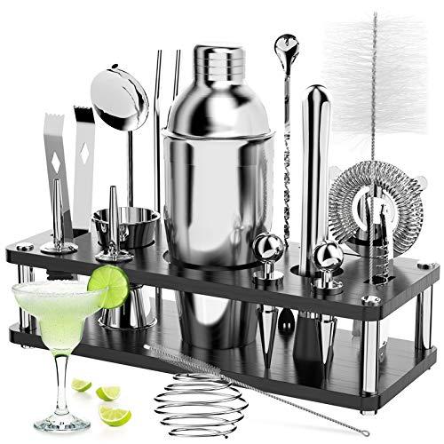 Cocktail Set, 18 Stück Edelstahl Cocktail Zubehör Mix Set, Professionelles Barzubehör Werkzeug Party Essential Cocktailshaker Set, 750ml Cocktail Shaker,...