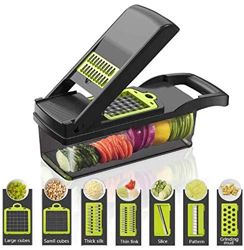 FOOLS ALIBAI gemüseschneider Smart Vegetable Slicer Mandoline,7 in 1 Mandolin Einstellbare Gemüseschneider Zwiebel Chopper mit großen Container Schneiden...