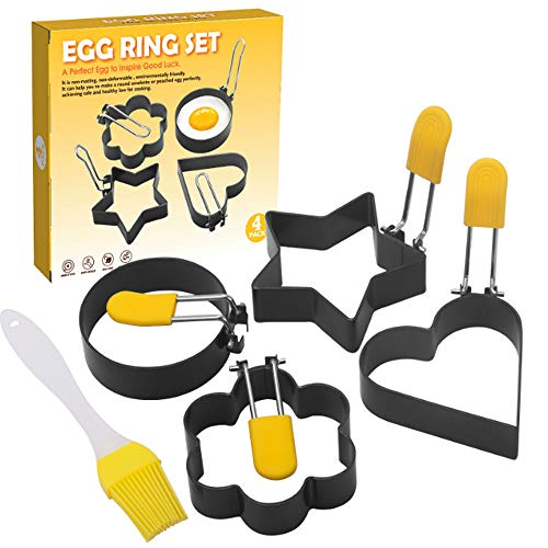 ZHOUHON 4 Stück Edelstahl Spiegeleiform Spiegeleiform Küche Werkzeug Pfannkuchenring Omelettform Zum Kochen von Spiegelei Pfannkuchen Omeletts