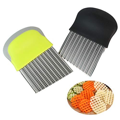 Pommes Wellenmesser, Gemüsehobel, Edelstahl Kartoffelschneider Kartoffel Wellenschneider für Obst Gemüse Salat Schneider Werkzeug 2er Set