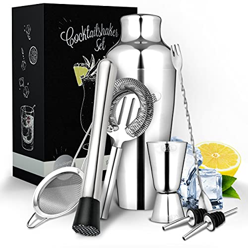 Vezato Cocktail Set aus Edelstahl – Hochwertiges Cocktail Shaker Set – Spülmaschinen geeignetes & rostfreies Cocktail Zubehör - Ideales Barset & Geschenk