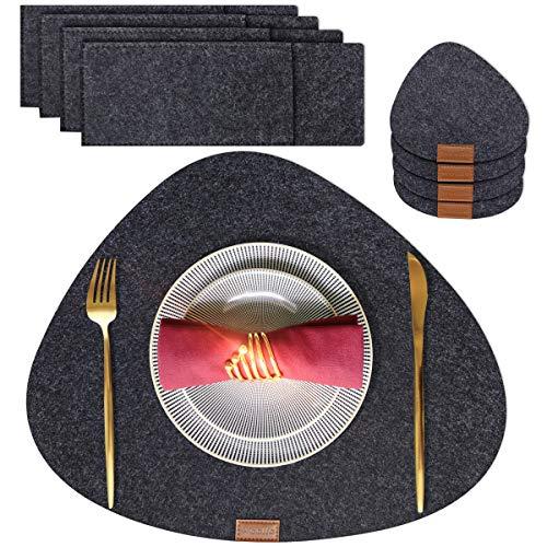 Woollo Verdicken Filz Platzsets(4er Set),Verschleißfest Tischsets,Waschbare Platz-Matten rutschfeste,Hitzebeständige Platzdeckchen mit 4 Untersetzern und 4...