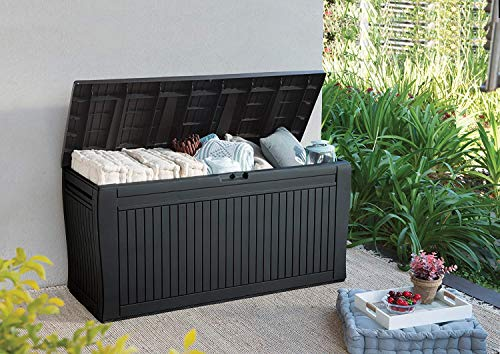 Koll Living Auflagenbox/Kissenbox 270 Liter Farbe : Graphit l 100% Wasserdicht l mit Belüftung dadurch kein übler Geruch/Schimmel l Moderne Holzoptik l Deckel...