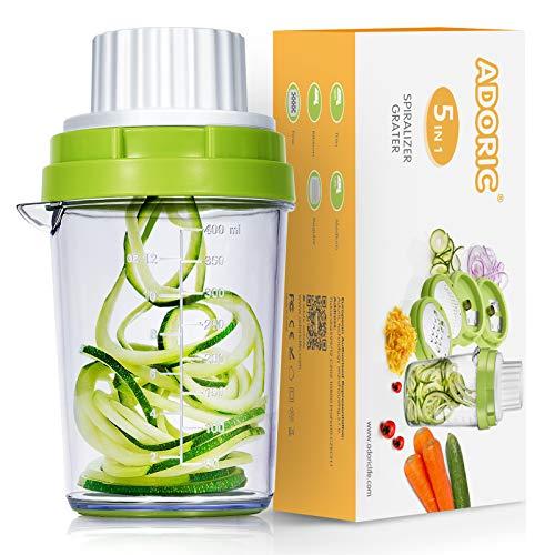 Adoric Spiralschneider 5 in 1 2021 Gemüse Spiralschneider, Gemüsehobel für Karotte, Gurke, Kartoffel,Kürbis, Zucchini, Zwiebel, Gemüsespaghetti