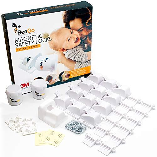 BeeGo Magnetische Kindersicherung Schrank und Schubladensicherung Baby - Schranksicherung Baby mit Schloss (12 Schlösser + 2 Schlüssel), Gratis Video zur...