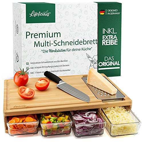 LIFELICIOUS® Premium Multi-Schneidebrett mit 4X Auffangschalen & Deckeln [+ inkl. Edelstahlreibe] Extra großes Profi-Küchenbrett-Set (XXL) aus Bambus-Holz...