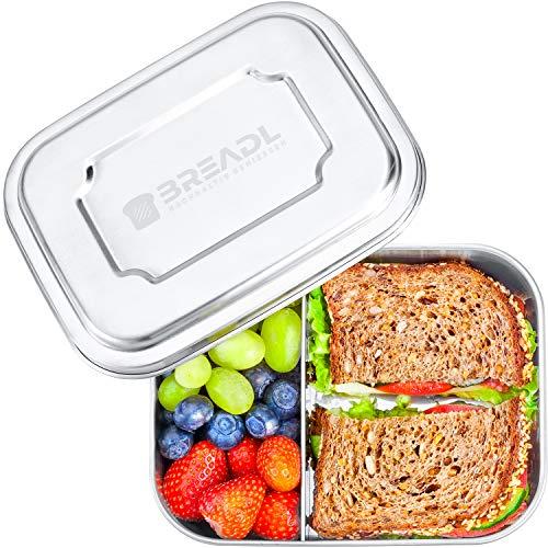 BREADL® Edelstahl Brotdose 1000ml, Spülmaschinenfest, BPA-frei, Trennwand und 2 Fächer, Lunchbox & Bento-Box für Kinder & Erwachsene für Schule, Arbeit,...