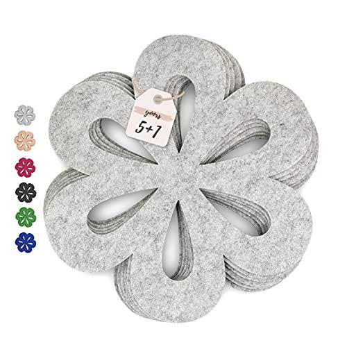 YOORS®️ Pfannenschoner (6er Set, 35 cm) - dekorativer Pfannenschutz aus recyceltem Premium Filz – 3 in 1: Stapelschutz, Platzset & Topfuntersetzer