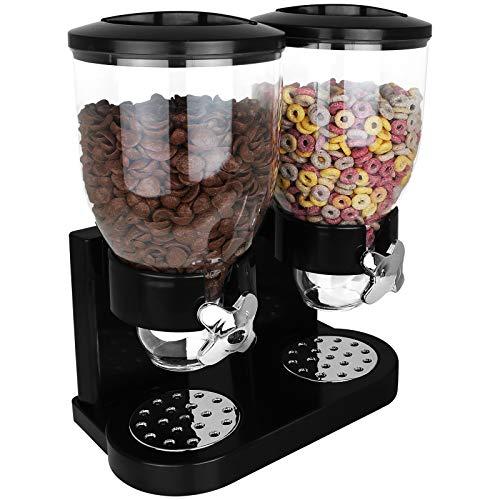 TW24 Cornflakes Spender schwarz doppelt Müslispender Cerealienspender Doppelspender für Müsli Cerealien Süßigkeiten