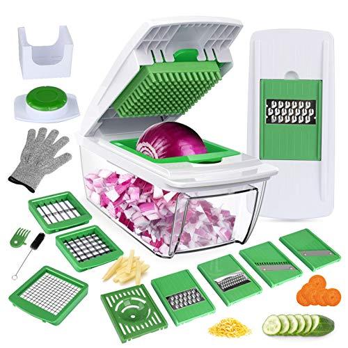 YRYP Gemüseschneider Gemüsehobel Kartoffelschneider 5 Austauschbare Klingen mit Schäler Obst, Multischneider Gemüseschäler, Julienneschneider, für Alle...