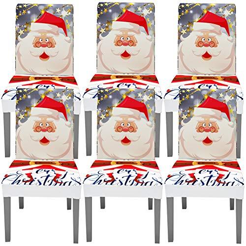 YISUN Universal Stretch Stuhlhussen 4er 6er Set Stuhlbezug für Stuhl Esszimmer (6er Set, Weihnachten)