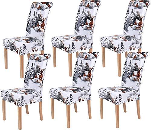 Homaxy Universal Stretch Stuhlhussen 2er 4er 6er Set Stuhlbezug für Stuhl Esszimmer (6er Set, Weihnachten B)