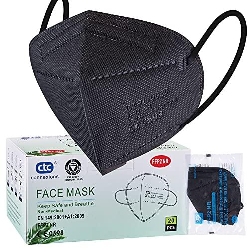 ctc connexions 20 Stück FFP2-Maske Schwarz , CE0598-Zertifizierung EN149:2001+A1:2009, 5-Lagige Staubmaske Einweg-Atemschutzgerät, Unabhängige Verpackung…...