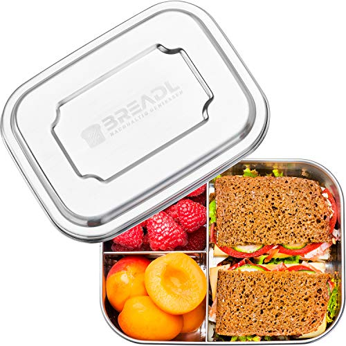 BREADL® Edelstahl Brotdose 1000ml, Spülmaschinenfest, BPA-frei, Trennwand und 3 Fächer, Lunchbox & Bento-Box für Kinder & Erwachsene für Schule, Arbeit,...